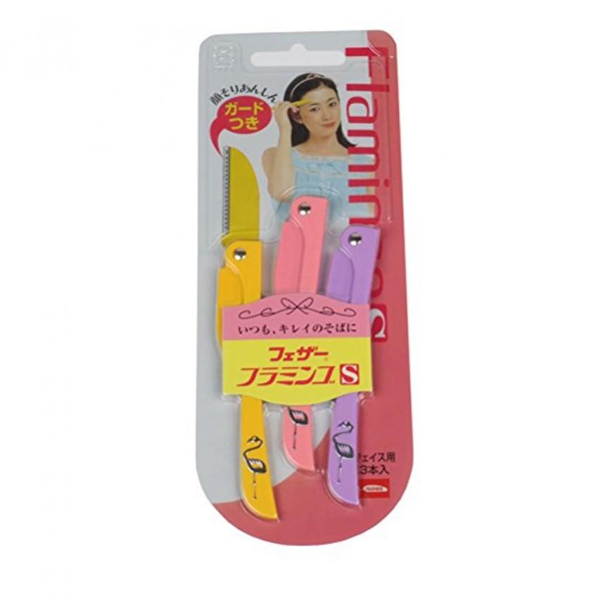 Feather Flamingo Eyebrow Shaver 3pcs Japanese Package (FLS) X 12 PCS