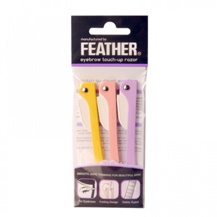Feather Flamingo Eyebrow Touch-Up Razor 3pcs English Package (FLM-P) x 12 Packages