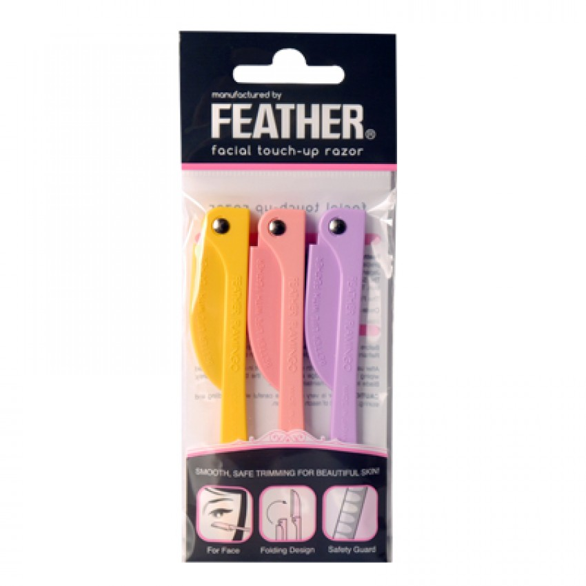Feather Flamingo Facial Touch-up Razor 3pcs English Package (FLS-P) x 12 Packages