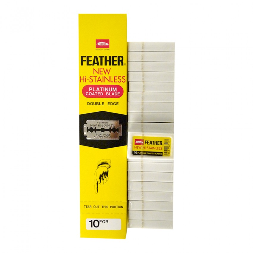 Feather New Hi-Stainless Platinum Coated Double Edge Blade (10 Blades) x 20 Packets