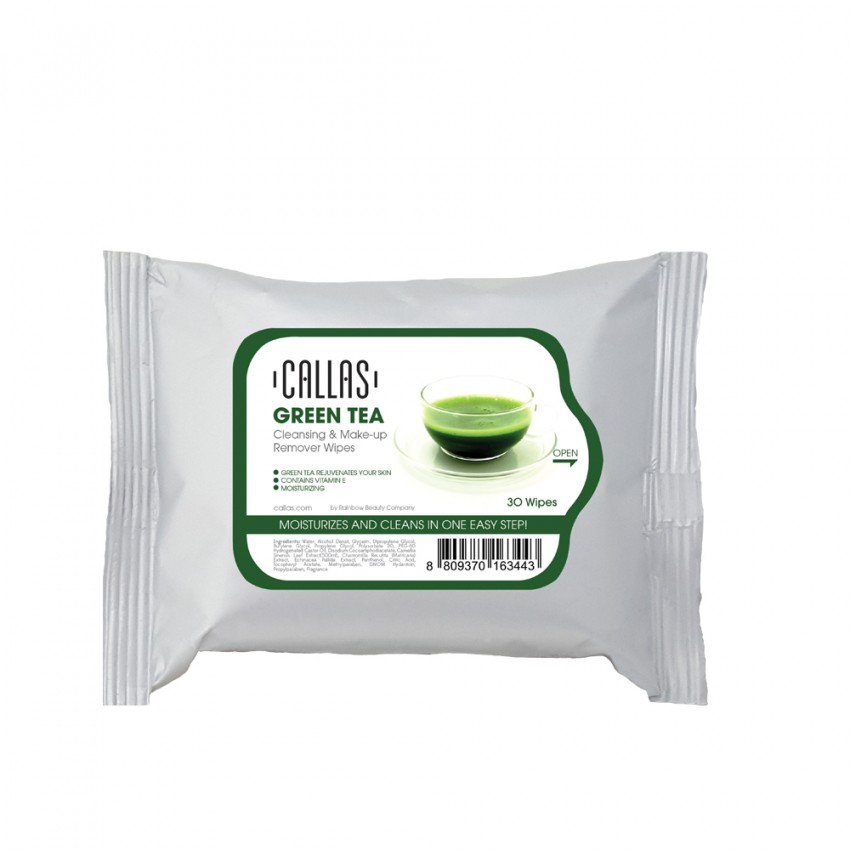 Callas Cleansing & Make-up Remover Wipes 30 Wipes (Green Tea) x 24 Pieces