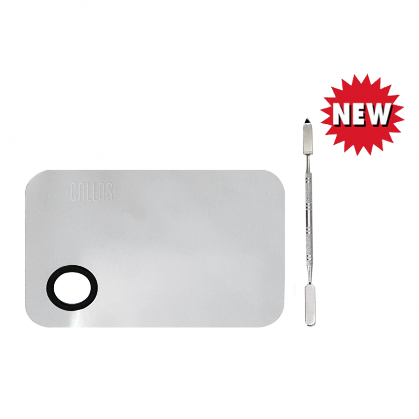 Callas Stainless Steel Makeup Mixing Palette with Spatula (Rectangular Type)