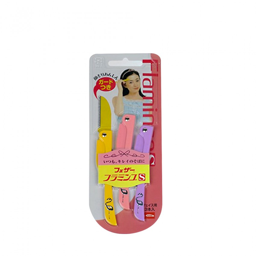 Feather Flamingo Eyebrow Shaver 3pcs Japanese Package (FLS) X 12 PCS