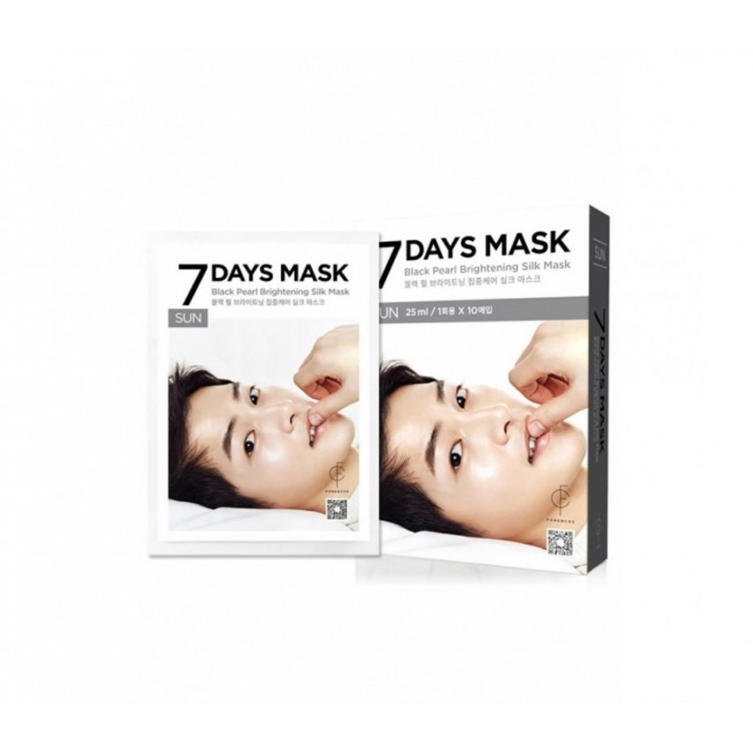 Forencos 7 Days Mask Sunday Black Pearl Brightening Silk Mask (10 Sheet) .84fl.oz/24.8ml