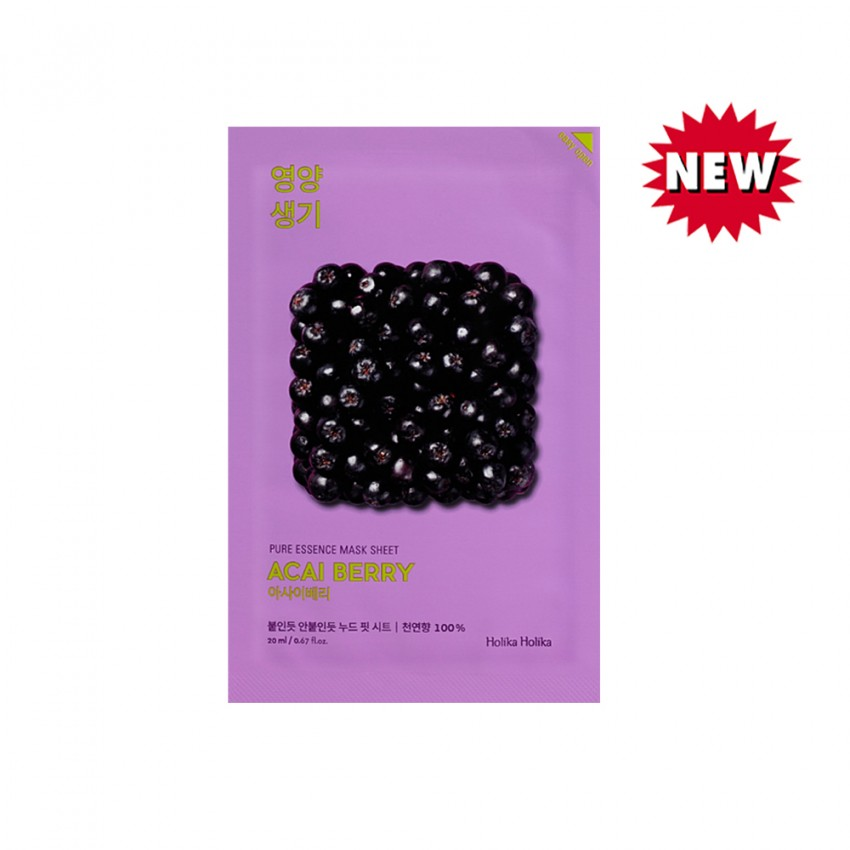 Holika Holika Pure Essence Mask Sheet - Acai Berry (10pcs)