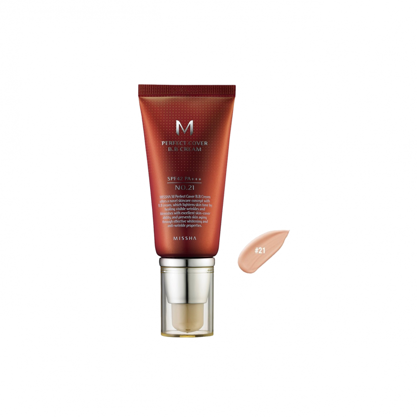 Missha M Perfect Cover  BB Cream SPF 42 PA+++ (No.21 Light Beige) 1.69oz / 48g / 50ml