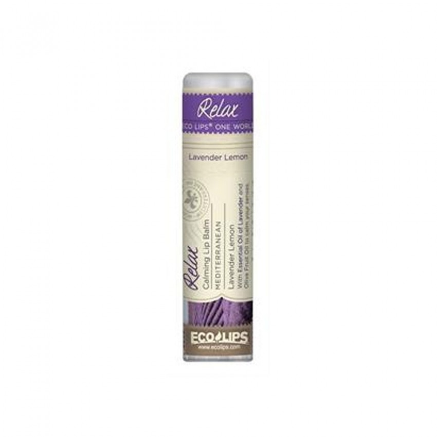 Eco Lips One World Relax Calming Lip Balm Mediterranean Lavender Lemon 0.25oz/7.1g