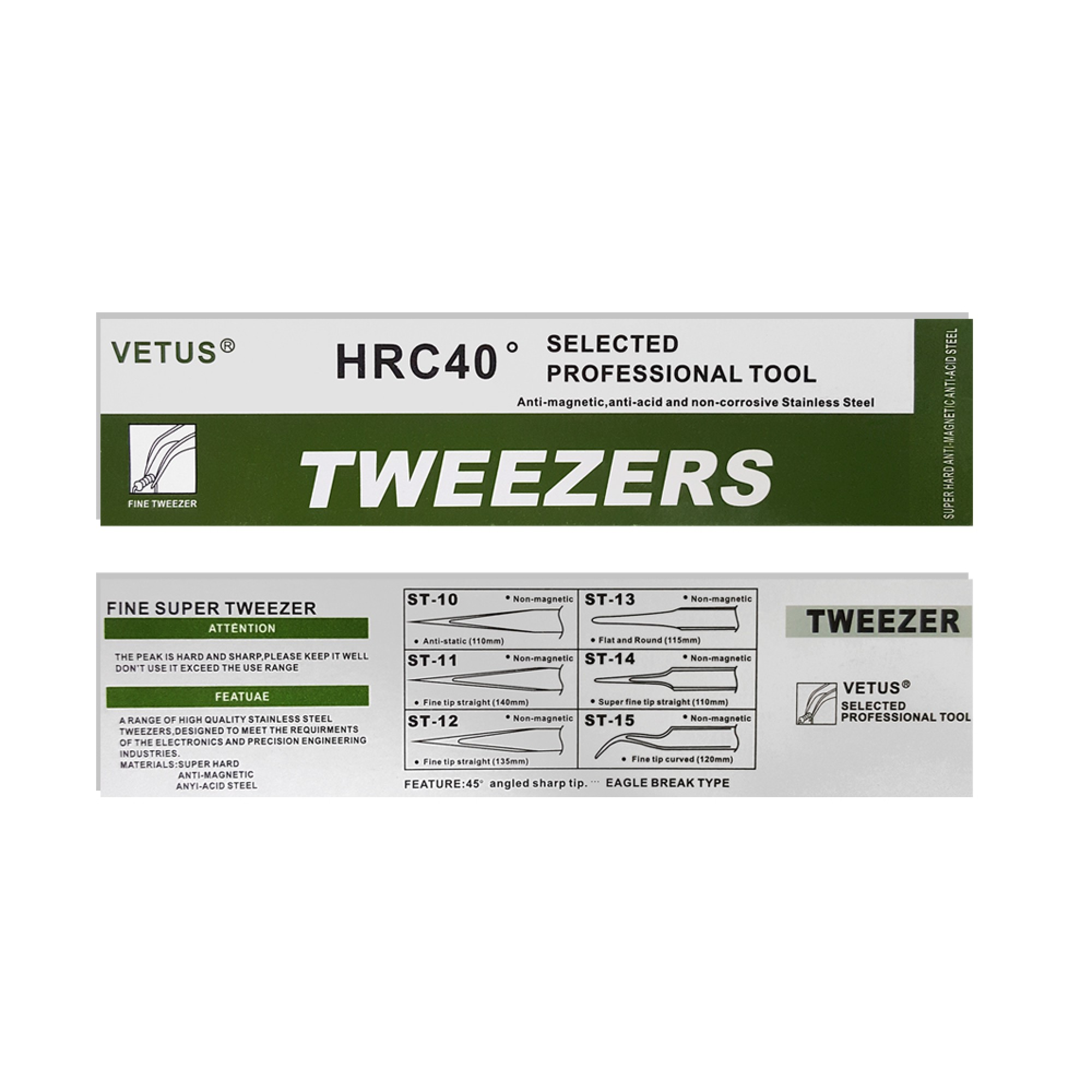 Vetus Stainless Tweezers Volume and Individual Eyelash